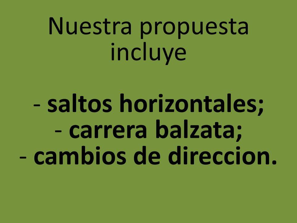 Nuestra propuesta incluye - saltos horizontales; - carrera balzata; - cambios de direccion.
