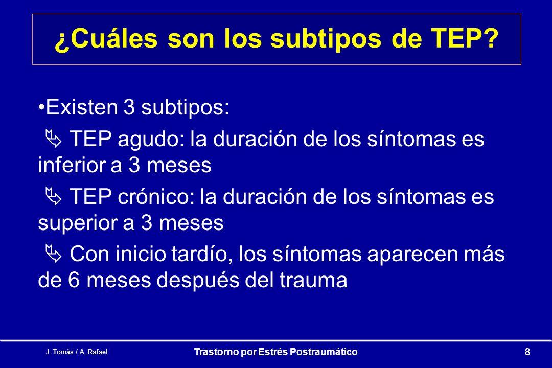 ¿Cuáles son los subtipos de TEP