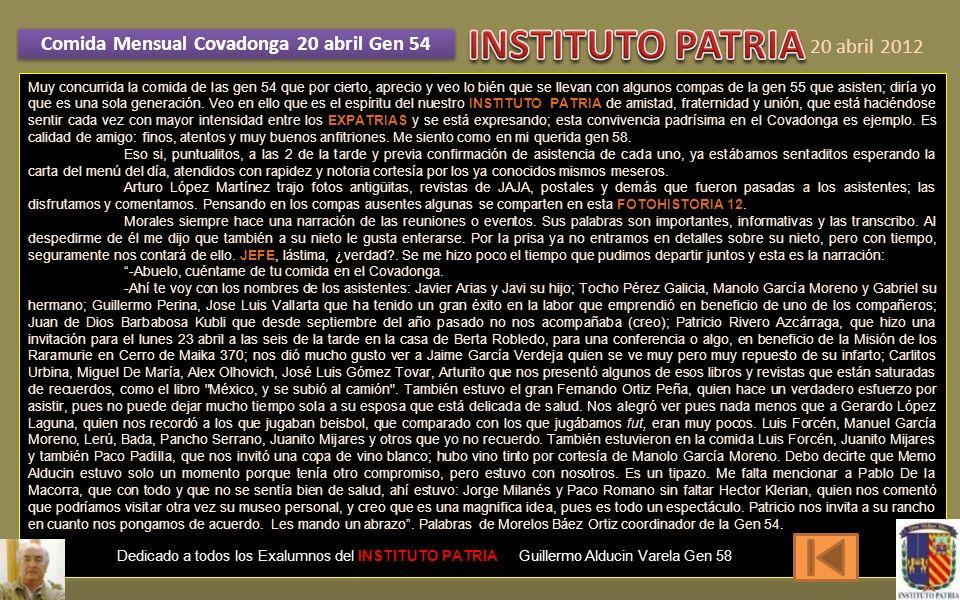 Comida Mensual Covadonga 20 abril Gen 54