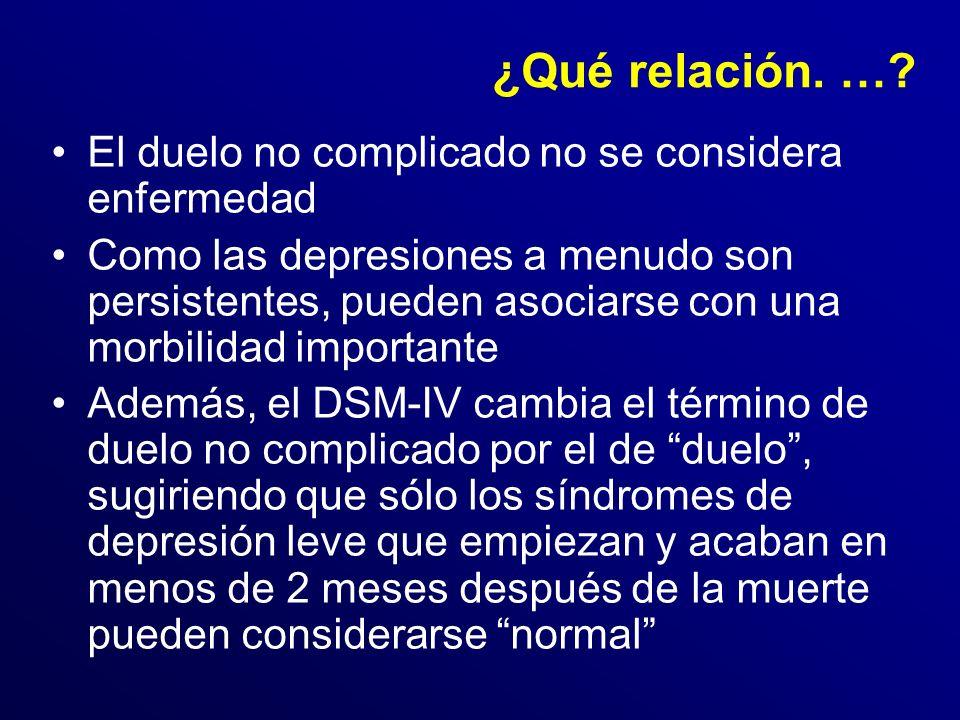 ¿Qué relación. … El duelo no complicado no se considera enfermedad