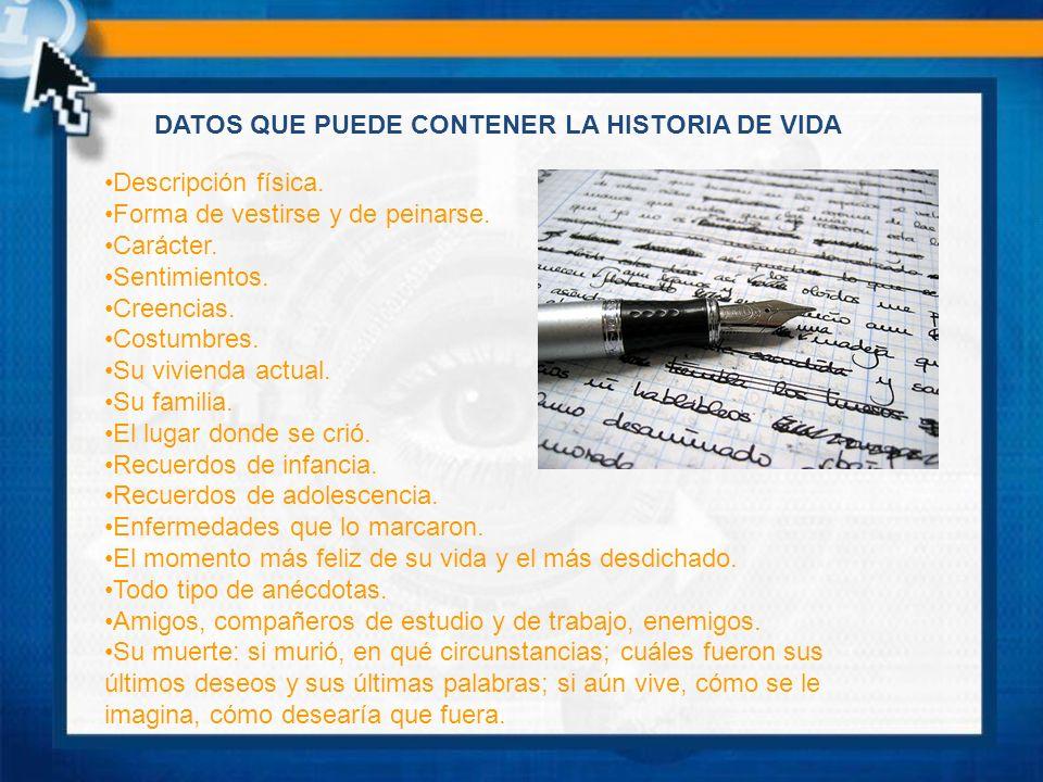 DATOS QUE PUEDE CONTENER LA HISTORIA DE VIDA