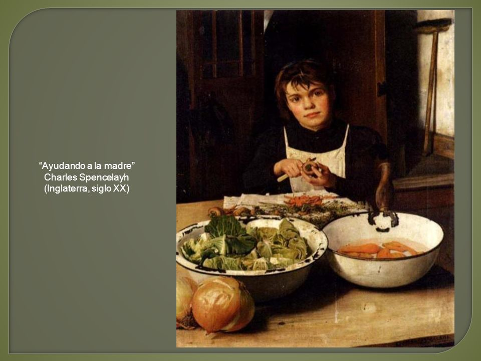 Ayudando a la madre Charles Spencelayh (Inglaterra, siglo XX)