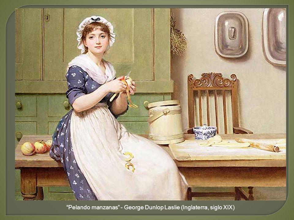Pelando manzanas - George Dunlop Laslie (Inglaterra, siglo XIX)