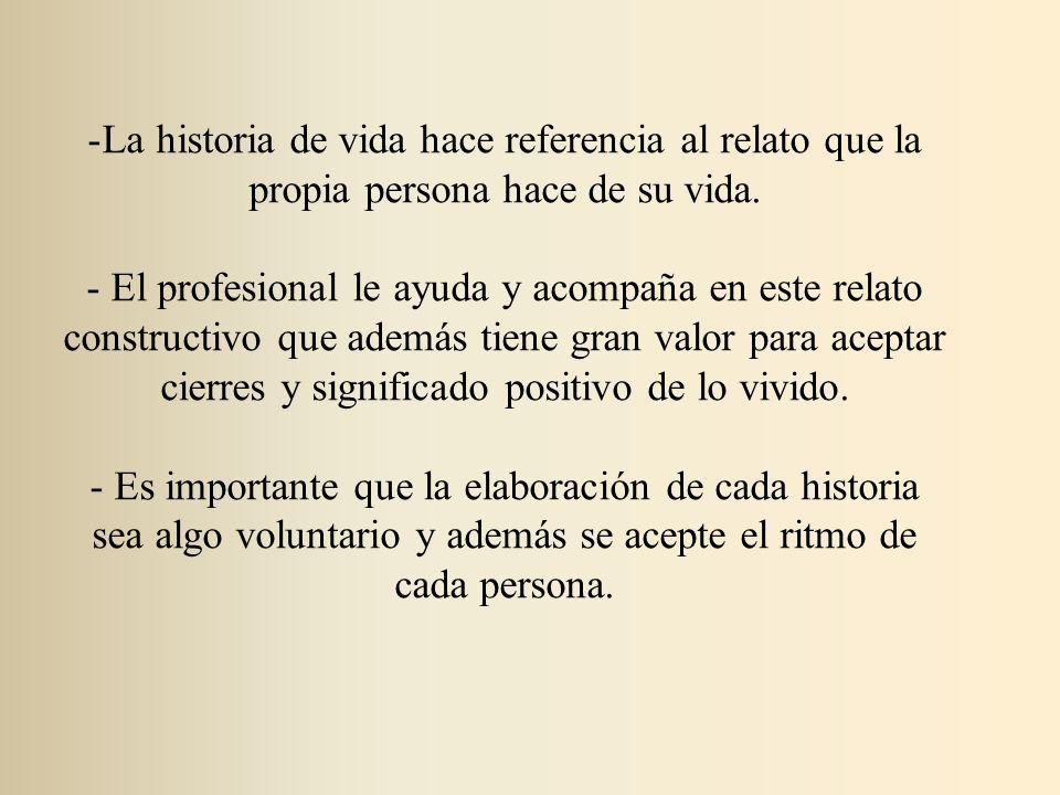 La historia de vida hace referencia al relato que la propia persona hace de su vida.