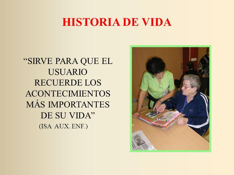 HISTORIA DE VIDA SIRVE PARA QUE EL USUARIO RECUERDE LOS ACONTECIMIENTOS MÁS IMPORTANTES DE SU VIDA