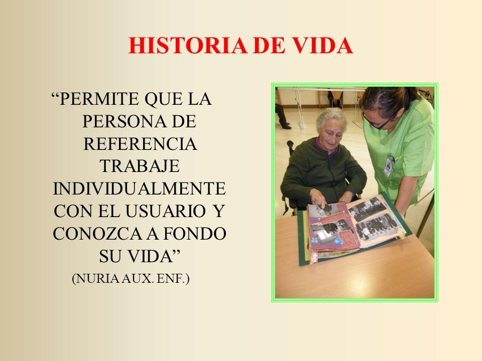 HISTORIA DE VIDA PERMITE QUE LA PERSONA DE REFERENCIA TRABAJE INDIVIDUALMENTE CON EL USUARIO Y CONOZCA A FONDO SU VIDA