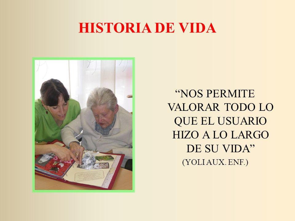 HISTORIA DE VIDA NOS PERMITE VALORAR TODO LO QUE EL USUARIO HIZO A LO LARGO DE SU VIDA (YOLI AUX.
