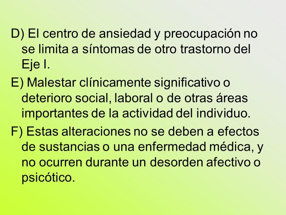 D) El centro de ansiedad y preocupación no se limita a síntomas de otro trastorno del Eje I.