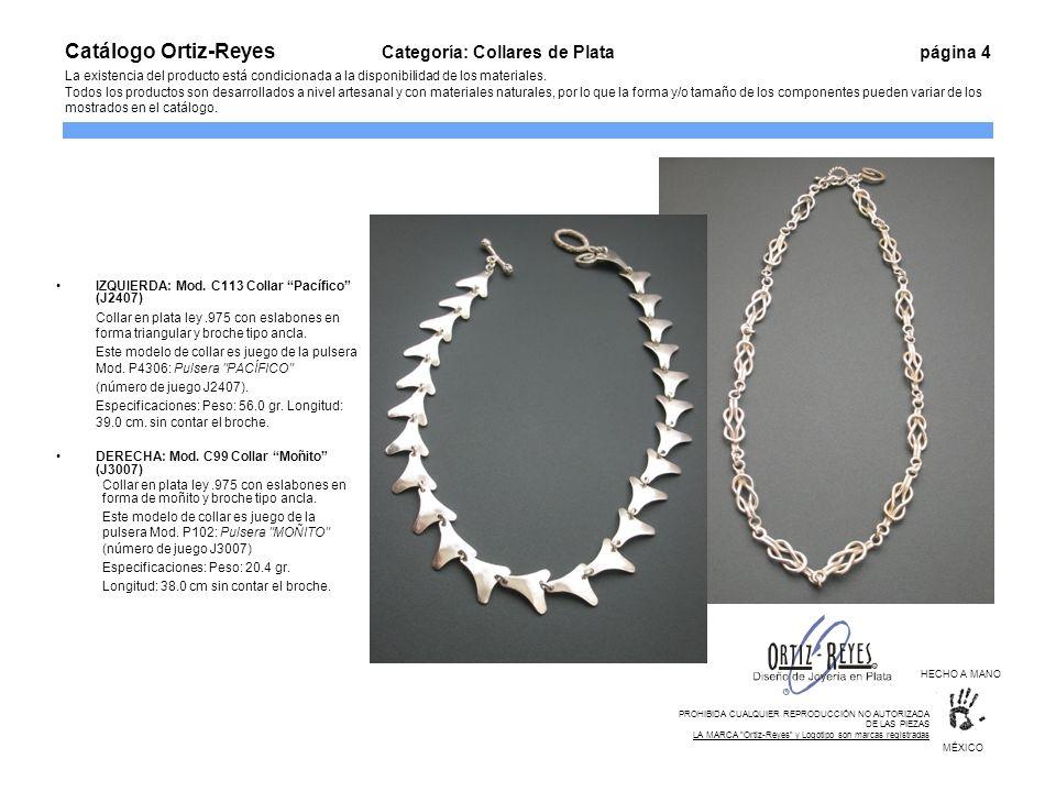 Catálogo Ortiz-Reyes. Categoría: Collares de Plata
