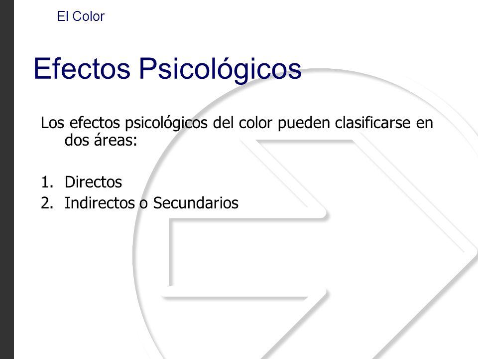 El Color Efectos Psicológicos. Los efectos psicológicos del color pueden clasificarse en dos áreas: