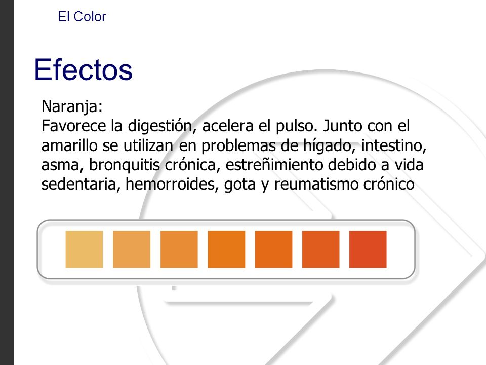 El Color Efectos. Naranja: