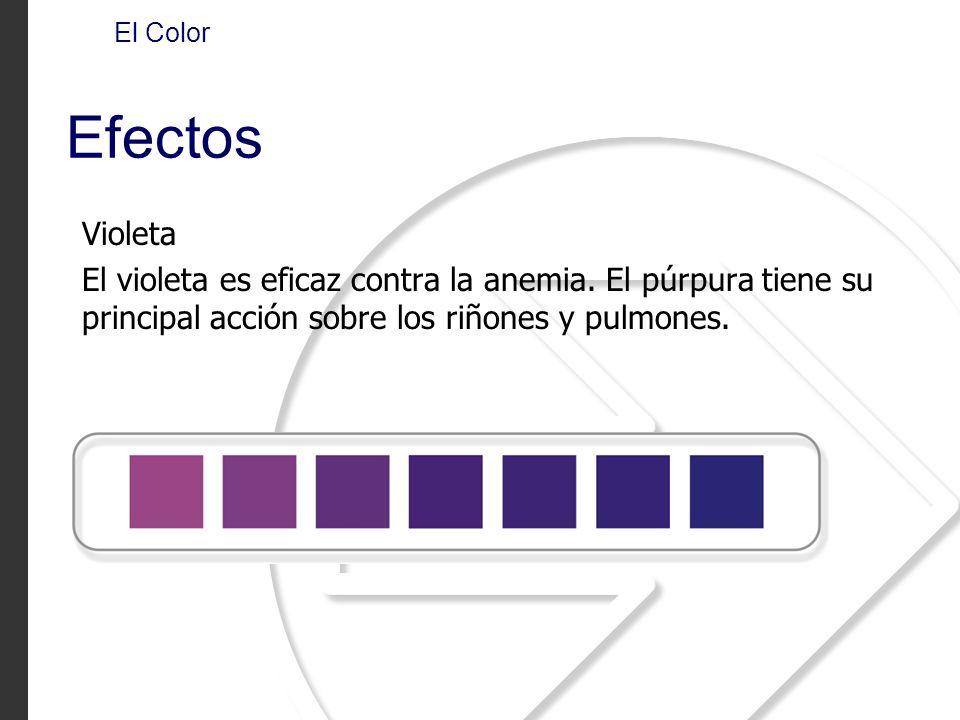 El Color Efectos. Violeta. El violeta es eficaz contra la anemia.