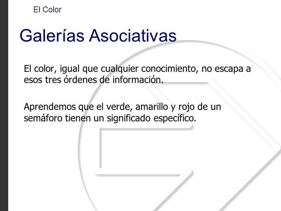 El Color Galerías Asociativas. El color, igual que cualquier conocimiento, no escapa a esos tres órdenes de información.