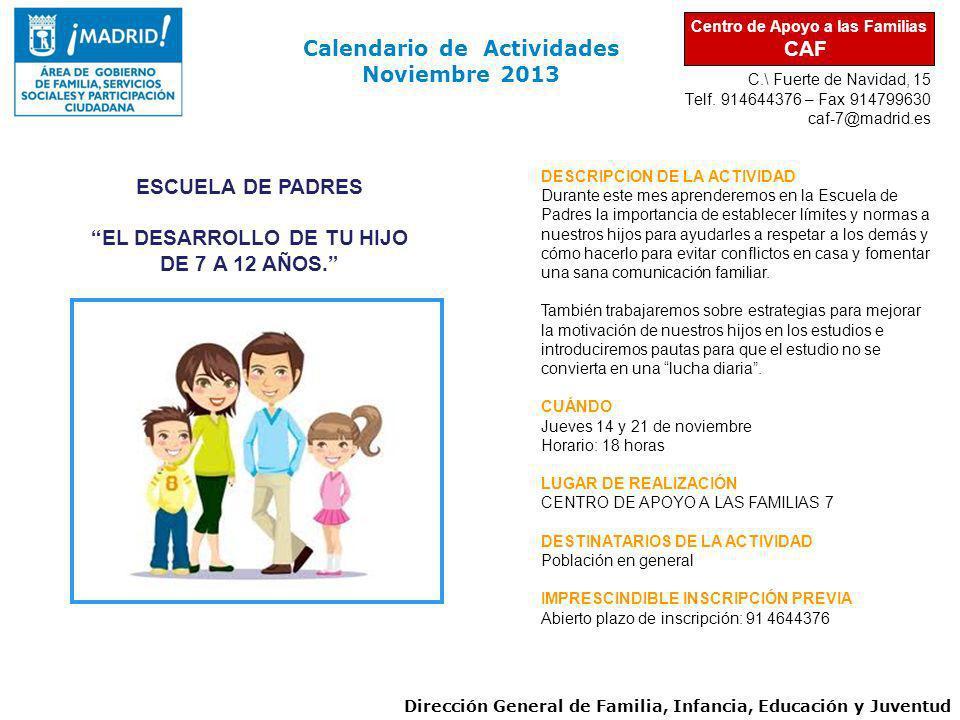 Calendario de Actividades Noviembre 2013
