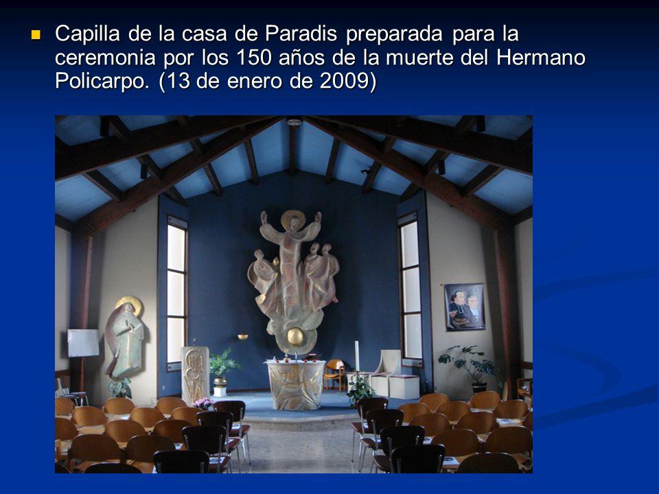 Capilla de la casa de Paradis preparada para la ceremonia por los 150 años de la muerte del Hermano Policarpo.