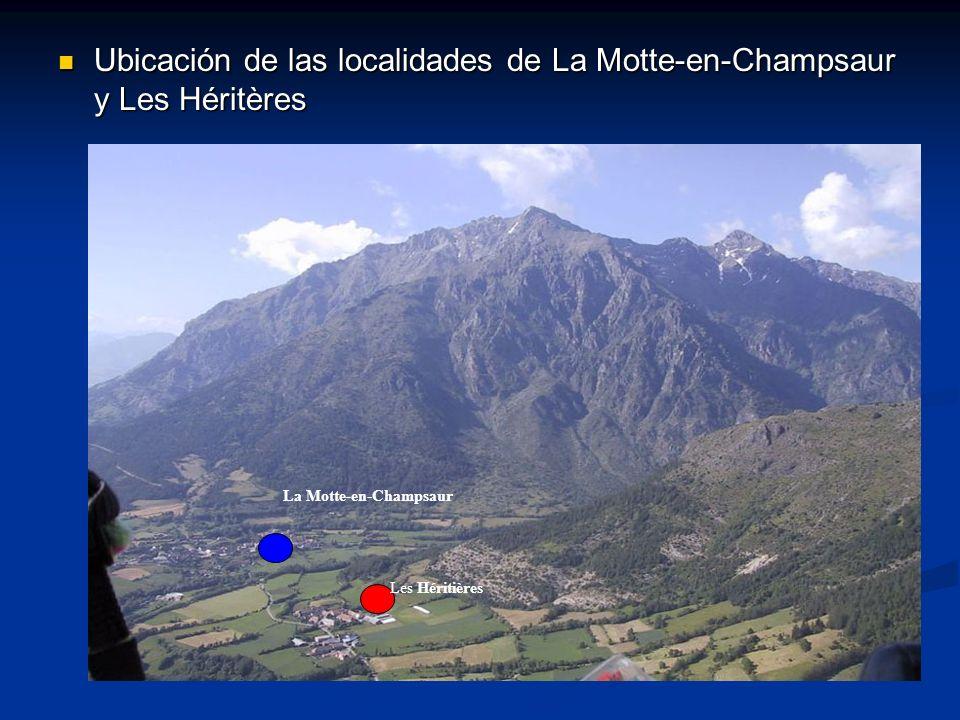 Ubicación de las localidades de La Motte-en-Champsaur y Les Héritères