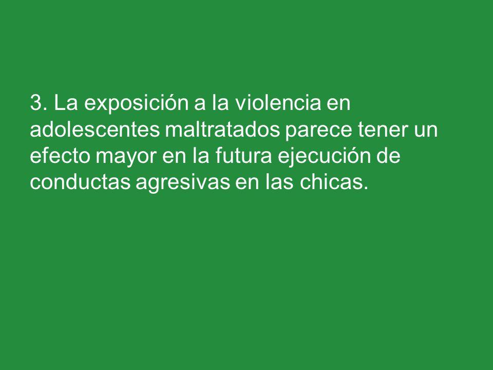 3. La exposición a la violencia en adolescentes maltratados parece tener un efecto mayor en la futura ejecución de conductas agresivas en las chicas.