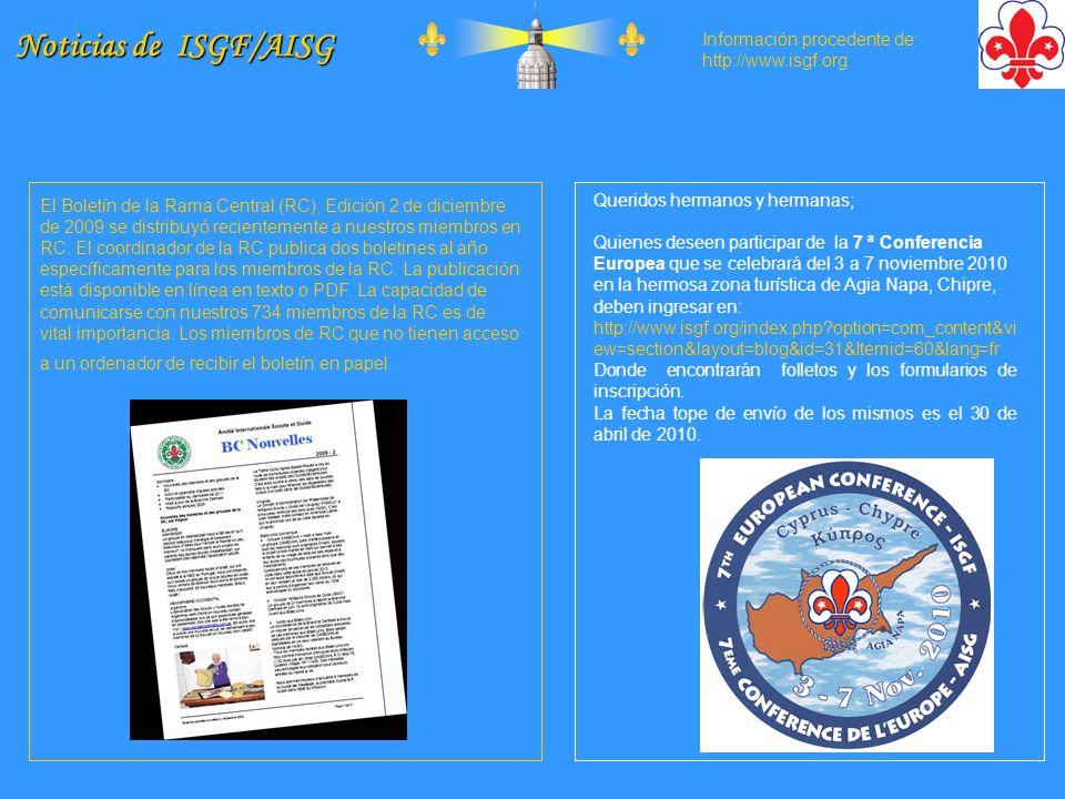 Noticias de ISGF/AISG Información procedente de: http://www.isgf.org