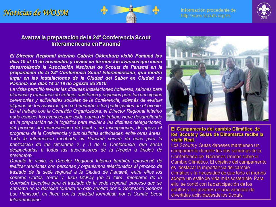Noticias de WOSM Información procedente de: http://www.scouts.org/es. Avanza la preparación de la 24ª Conferencia Scout Interamericana en Panamá.