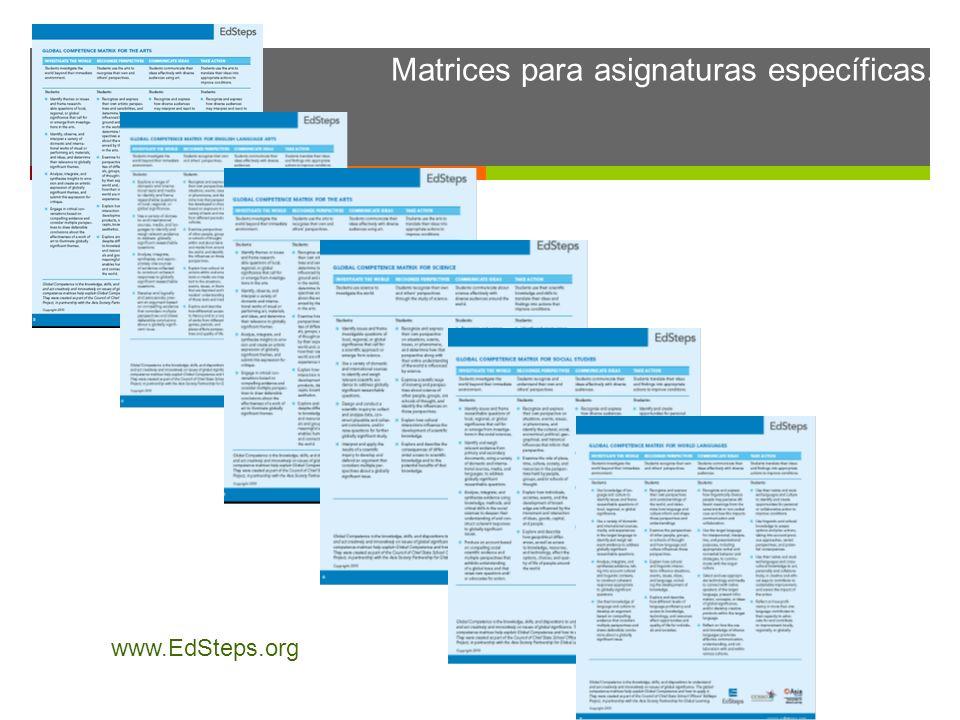 Matrices para asignaturas específicas.