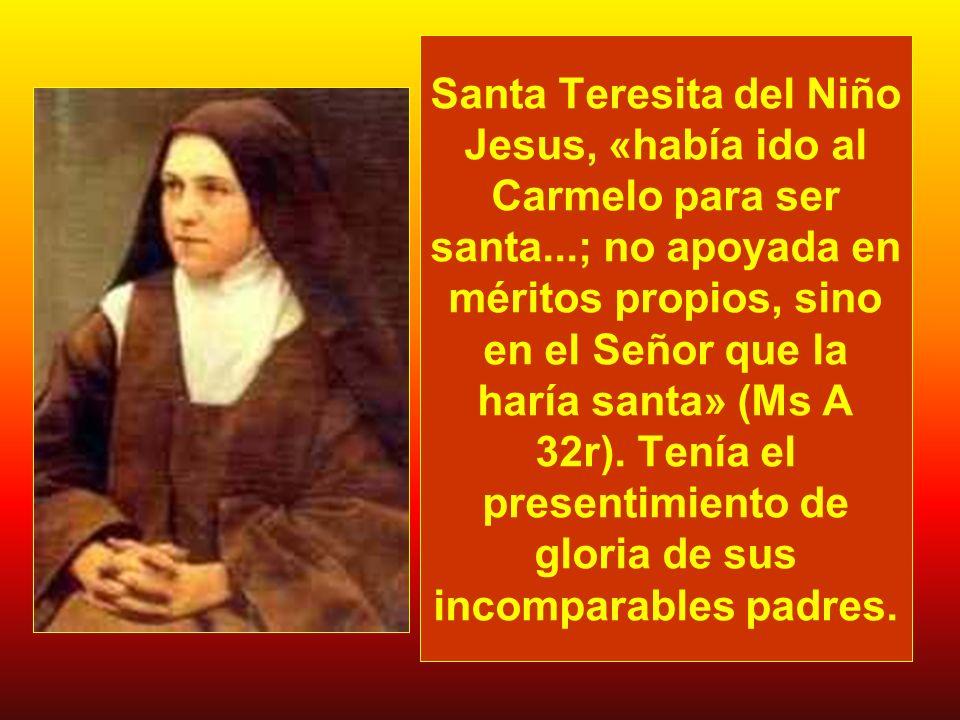 Santa Teresita del Niño Jesus, «había ido al Carmelo para ser santa