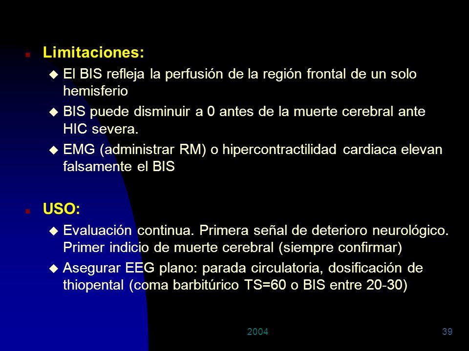 29/03/2017Limitaciones: El BIS refleja la perfusión de la región frontal de un solo hemisferio.