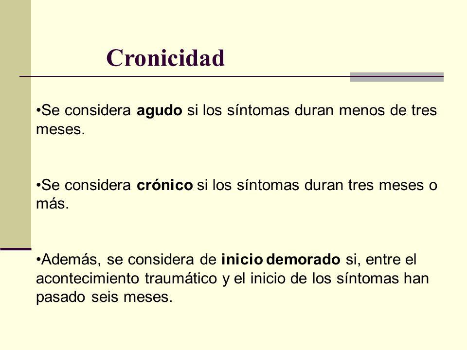 Cronicidad Se considera agudo si los síntomas duran menos de tres meses. Se considera crónico si los síntomas duran tres meses o más.