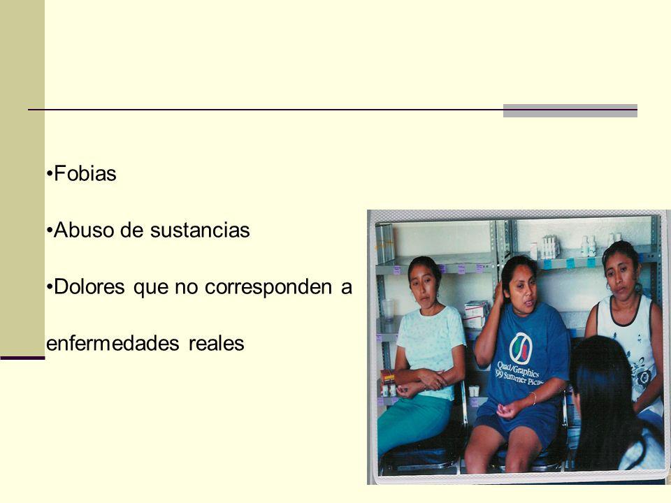 Fobias Abuso de sustancias Dolores que no corresponden a enfermedades reales