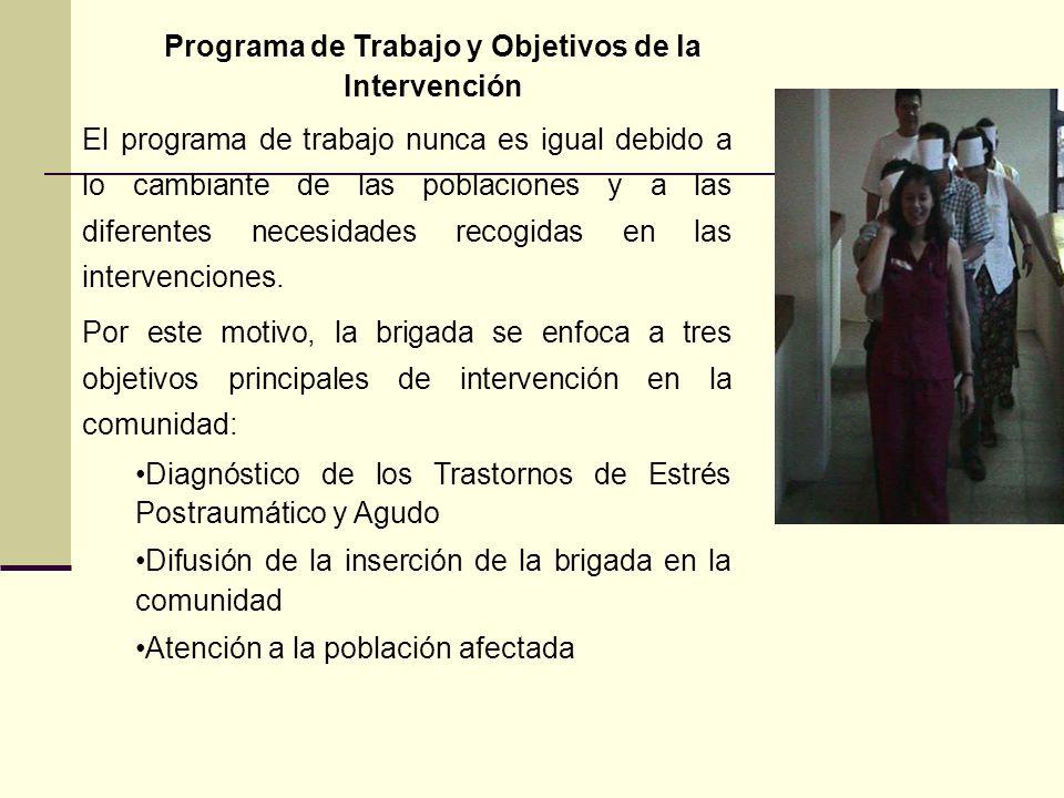 Programa de Trabajo y Objetivos de la Intervención