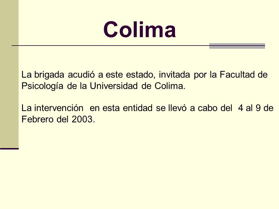 Colima La brigada acudió a este estado, invitada por la Facultad de Psicología de la Universidad de Colima.
