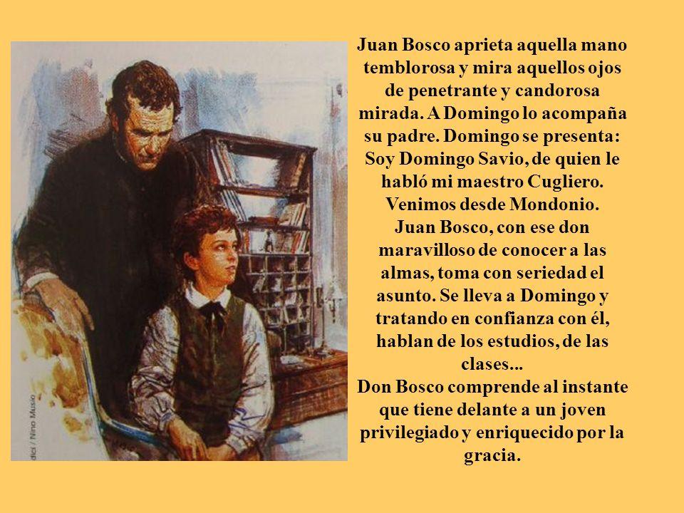 Juan Bosco aprieta aquella mano temblorosa y mira aquellos ojos de penetrante y candorosa mirada. A Domingo lo acompaña su padre. Domingo se presenta: Soy Domingo Savio, de quien le habló mi maestro Cugliero. Venimos desde Mondonio.