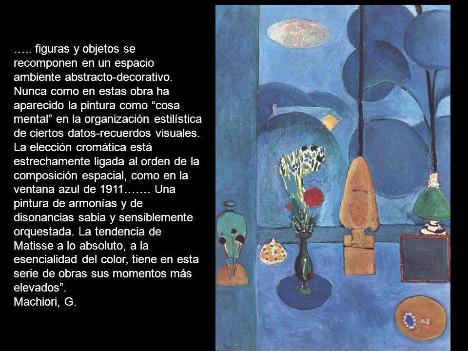 ….. figuras y objetos se recomponen en un espacio ambiente abstracto-decorativo. Nunca como en estas obra ha aparecido la pintura como cosa mental en la organización estilística de ciertos datos-recuerdos visuales. La elección cromática está estrechamente ligada al orden de la composición espacial, como en la ventana azul de 1911……. Una pintura de armonías y de disonancias sabia y sensiblemente orquestada. La tendencia de Matisse a lo absoluto, a la esencialidad del color, tiene en esta serie de obras sus momentos más elevados .