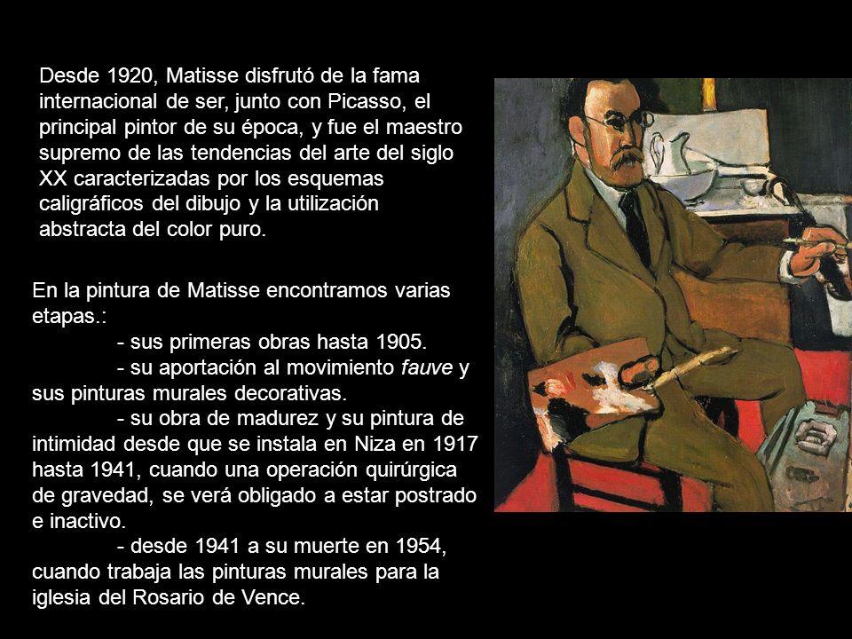 Desde 1920, Matisse disfrutó de la fama internacional de ser, junto con Picasso, el principal pintor de su época, y fue el maestro supremo de las tendencias del arte del siglo XX caracterizadas por los esquemas caligráficos del dibujo y la utilización abstracta del color puro.