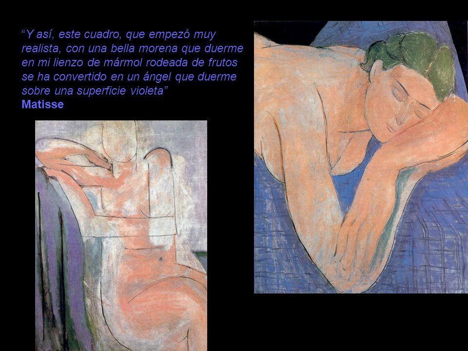 Y así, este cuadro, que empezó muy realista, con una bella morena que duerme en mi lienzo de mármol rodeada de frutos se ha convertido en un ángel que duerme sobre una superficie violeta