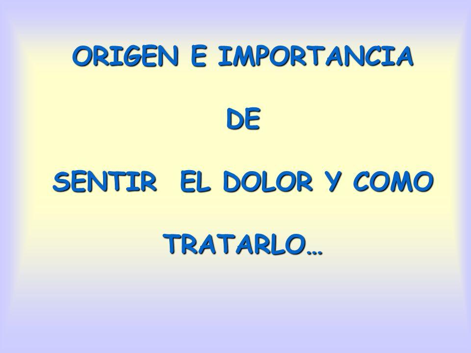 ORIGEN E IMPORTANCIA DE SENTIR EL DOLOR Y COMO TRATARLO…