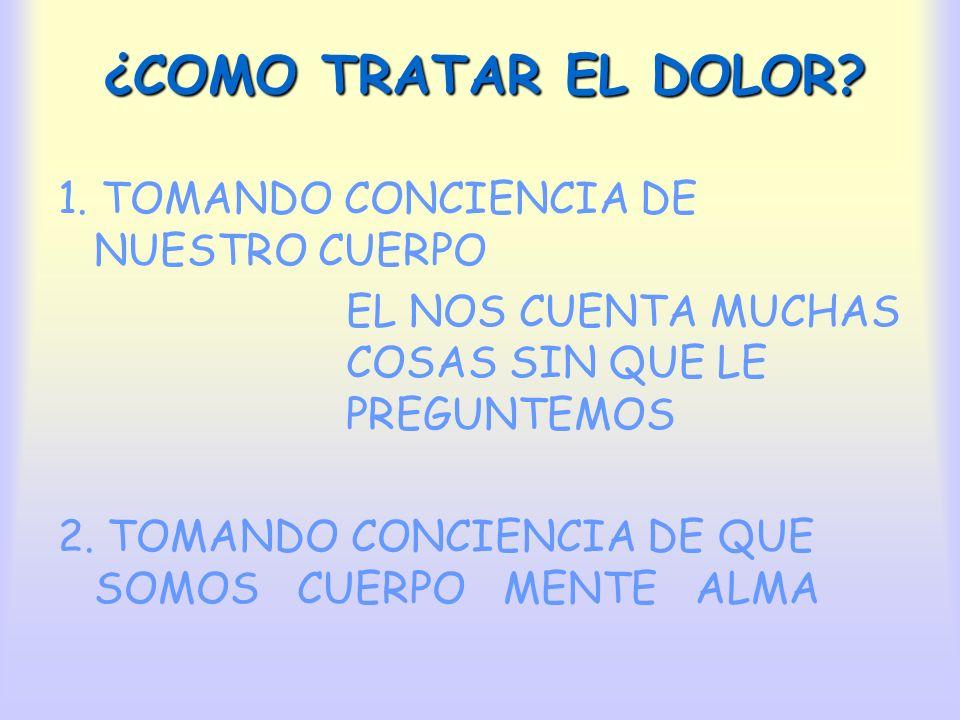 ¿COMO TRATAR EL DOLOR 1. TOMANDO CONCIENCIA DE NUESTRO CUERPO