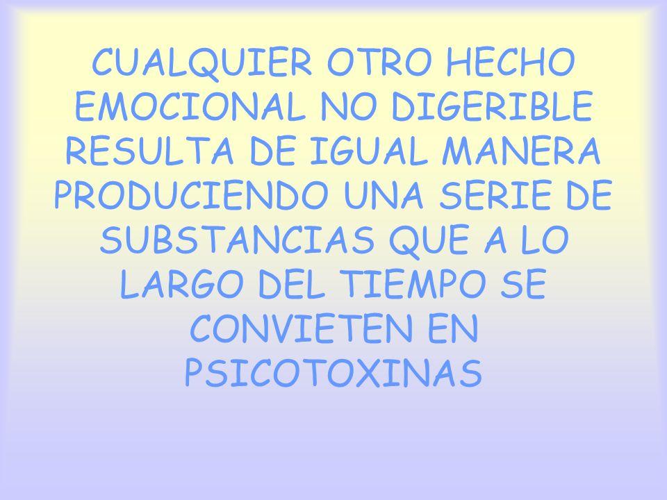 CUALQUIER OTRO HECHO EMOCIONAL NO DIGERIBLE RESULTA DE IGUAL MANERA PRODUCIENDO UNA SERIE DE SUBSTANCIAS QUE A LO LARGO DEL TIEMPO SE CONVIETEN EN PSICOTOXINAS