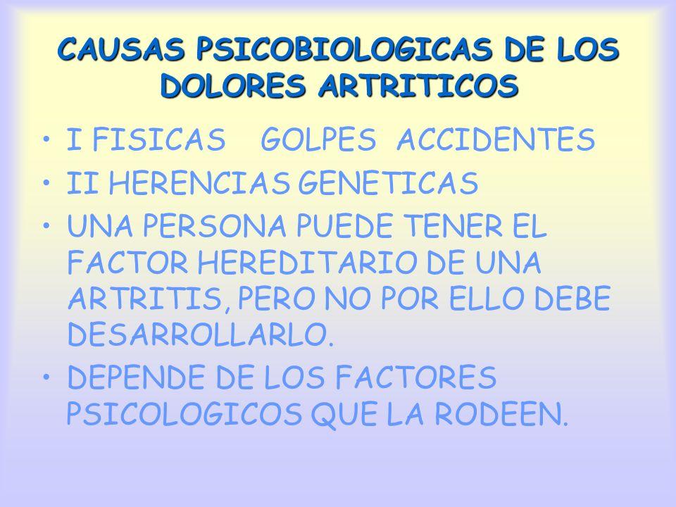 CAUSAS PSICOBIOLOGICAS DE LOS DOLORES ARTRITICOS