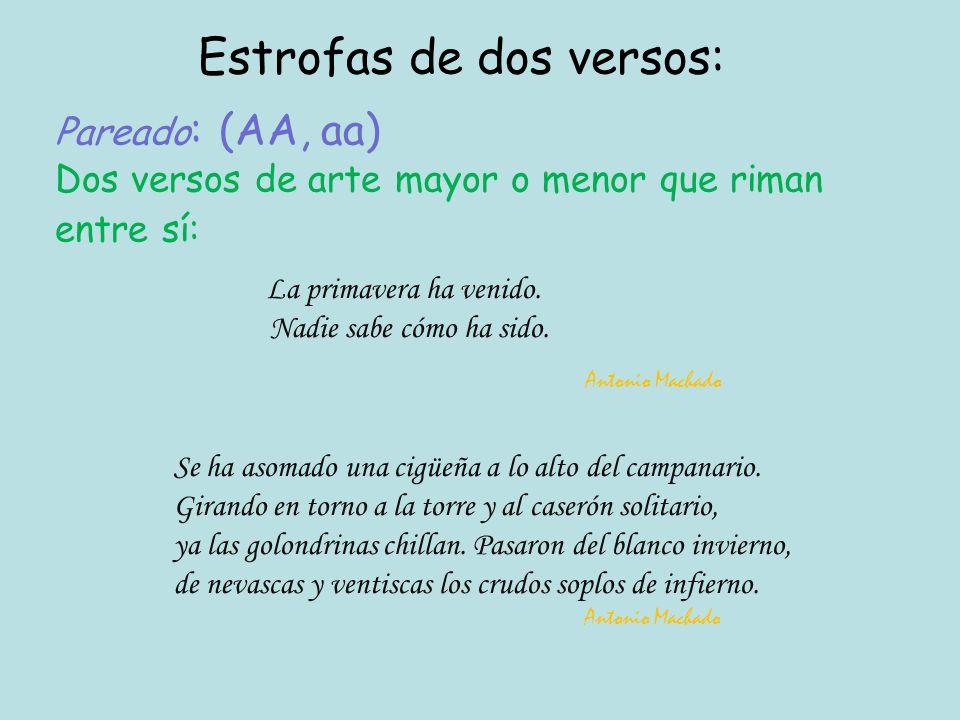 Pareado: (AA, aa) Dos versos de arte mayor o menor que riman entre sí: