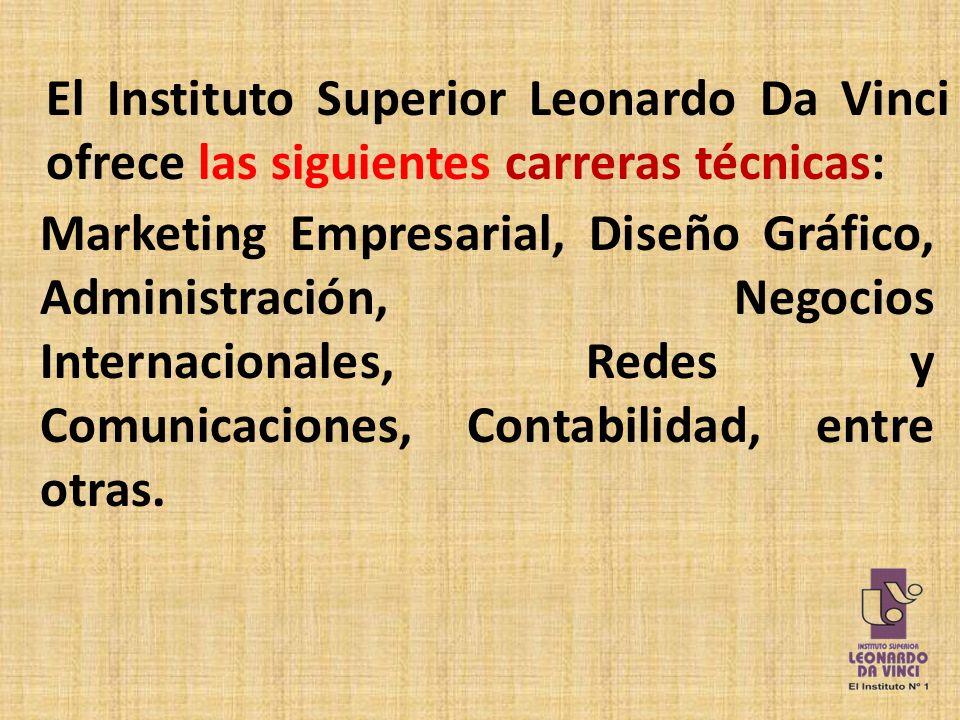 El Instituto Superior Leonardo Da Vinci ofrece las siguientes carreras técnicas: