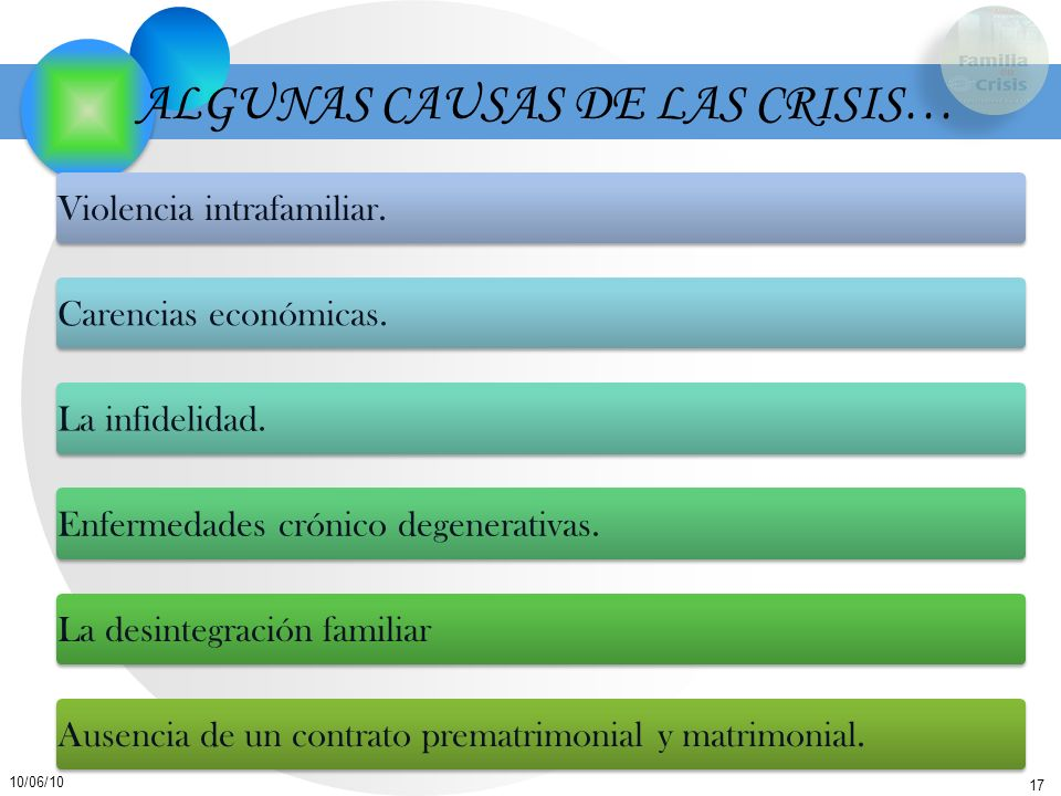 ALGUNAS CAUSAS DE LAS CRISIS…