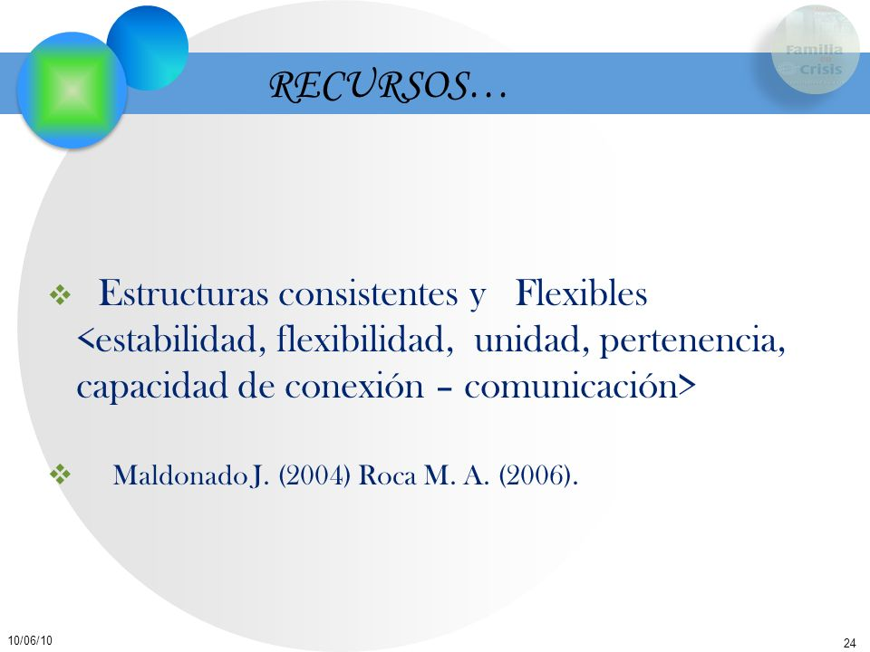 RECURSOS… Estructuras consistentes y Flexibles <estabilidad, flexibilidad, unidad, pertenencia, capacidad de conexión – comunicación>