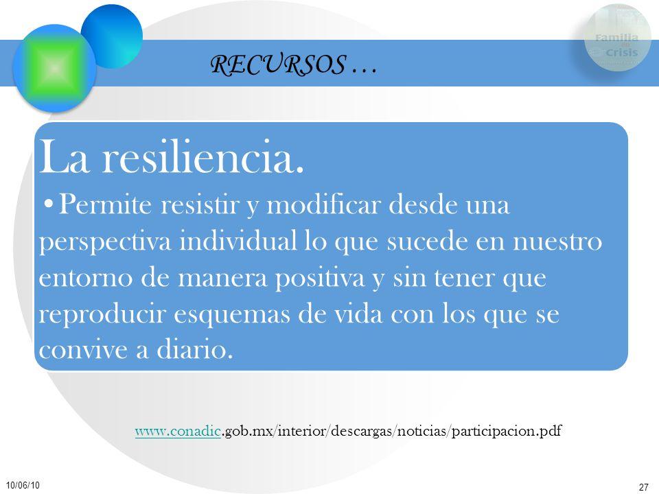 RECURSOS … La resiliencia.