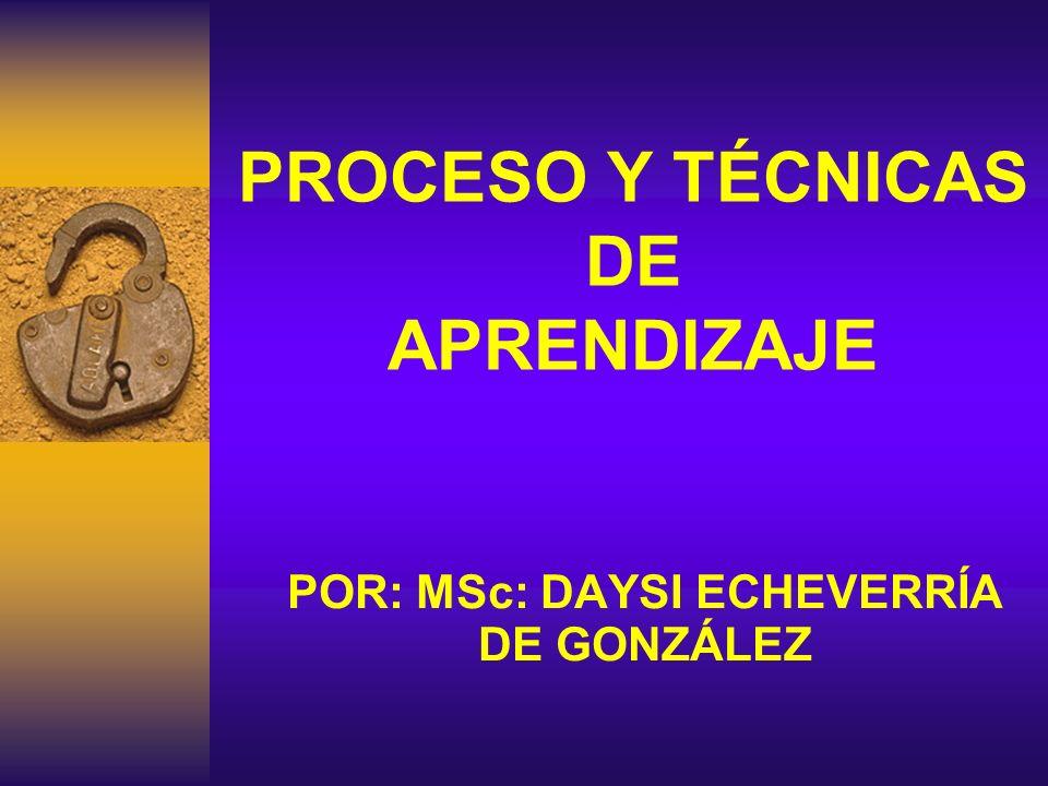 PROCESO Y TÉCNICAS DE APRENDIZAJE