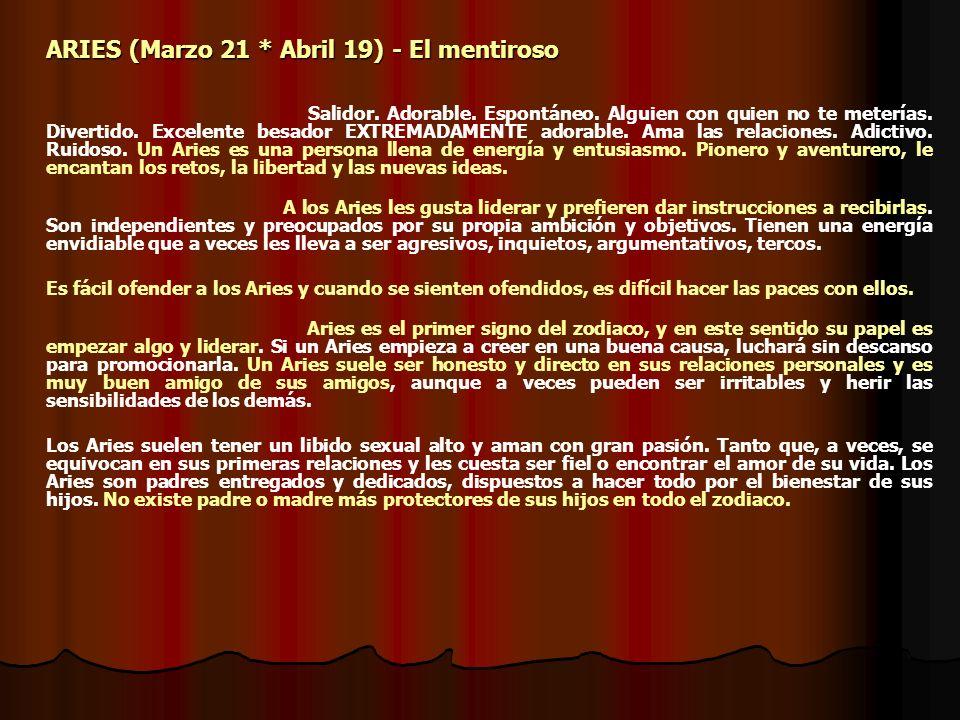 ARIES (Marzo 21 * Abril 19) - El mentiroso
