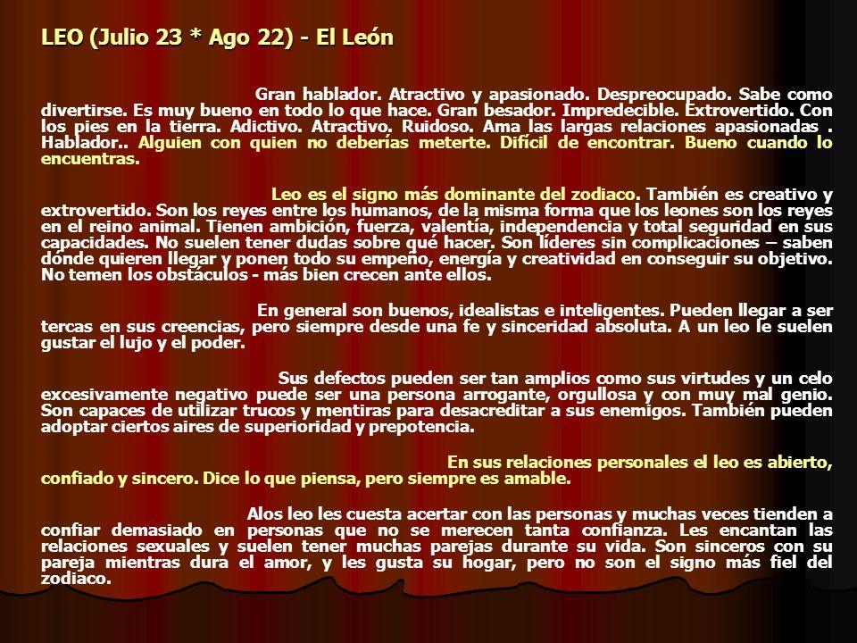 LEO (Julio 23 * Ago 22) - El León