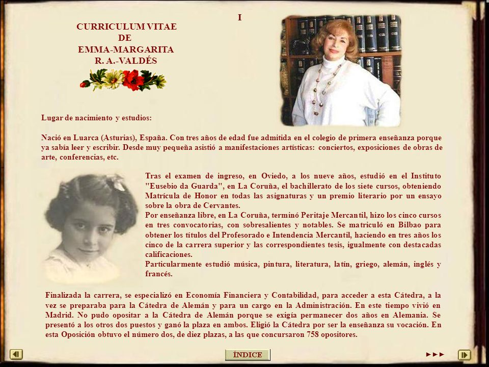 CURRICULUM VITAE DE EMMA-MARGARITA R. A.-VALDÉS