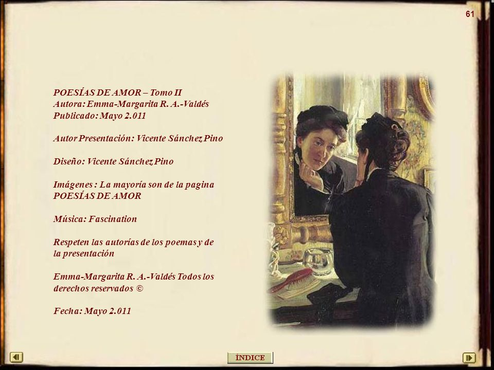 POESÍAS DE AMOR – Tomo II Autora: Emma-Margarita R. A.-Valdés