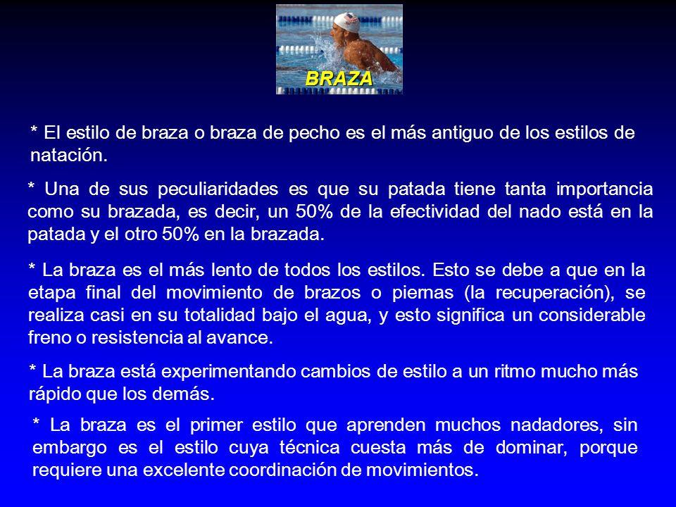 BRAZA * El estilo de braza o braza de pecho es el más antiguo de los estilos de natación.