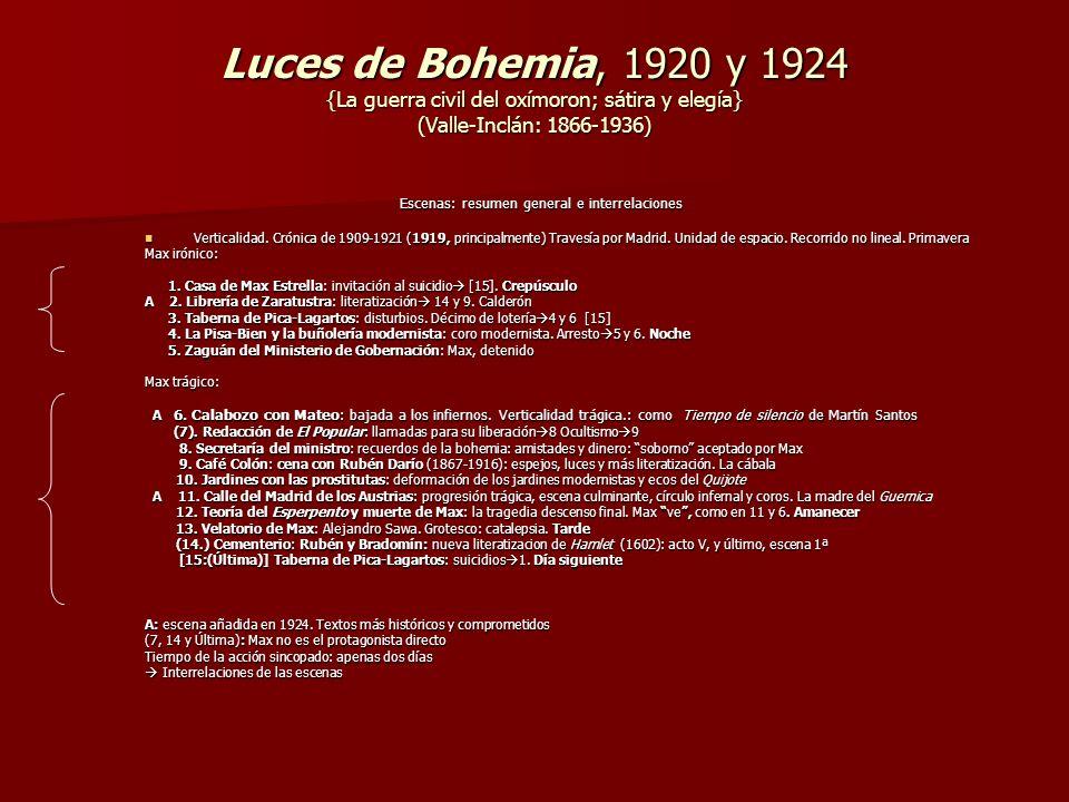 Luces de Bohemia, 1920 y 1924 {La guerra civil del oxímoron; sátira y elegía} (Valle-Inclán: 1866-1936)